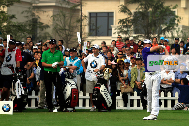 Rory McIlroy (NIR) on the 1st tee on Day 4 of the BMW Masters 2012 at Lake Malaren Golf Club, Shanghai, China, Tuesday 28/10/12...(Photo www.golffile.ie)