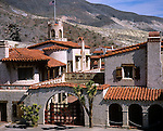 Death Valley National Park, CA<br /> Scotty's Castle with stucco walls and tile roofs in Grapevine Canyon