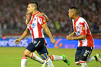 BARRANQUILLA- COLOMBIA -15-06-2016: Los jugadores de Atletico Junior celebran el gol anotado a Deportivo Independiente Medellin, durante partido de ida de la final entre Atletico Junior y Deportivo Independiente Medellin, de la Liga Aguila I-2016, jugado en el estadio Metropolitano Roberto Melendez de la ciudad de Barranquilla. / The players of Atletico Junior celebrate a scored goal to Deportivo Independiente Medellin, during a match for the first leg of the finals, between Atletico Junior and Deportivo Independiente Medellin, of the Liga Aguila I-2016 at the Metropolitano Roberto Melendez Stadium in Barranquilla city, Photo: VizzorImage  / Alfonso Cervantes / Cont.