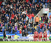 9th September 2017, Madejski Stadium, Reading, England; EFL Championship football, Reading versus Bristol City; Aden Flint of Bristol City celebrates with team and fans after scoring the only goal in the match