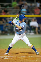Ben Johnson (6) of the Burlington Royals at bat against the Danville Braves at Burlington Athletic Park on August 13, 2015 in Burlington, North Carolina.  The Braves defeated the Royals 6-3. (Brian Westerholt/Four Seam Images)