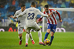 Real Madrid's player James Rodriguez and Danilo Luiz Da Silva and Sporting de Gijon's player Moi Gonzalez during match of La Liga between Real Madrid and Sporting de Gijon at Santiago Bernabeu Stadium in Madrid, Spain. November 26, 2016. (ALTERPHOTOS/BorjaB.Hojas)