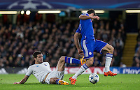 Ivan Marcano Sierra of FC Porto fails to tackle Diego Costa of Chelsea which leads to Chelsea first goal during the UEFA Champions League group G match between Chelsea and FC Porto at Stamford Bridge, London, England on 9 December 2015. Photo by Andy Rowland.