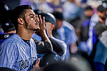 16 September 2017: Colorado Rockies third baseman Nolan Arenado looks out from the dugout during a game against the San Diego Padres at Coors Field in Denver, Colorado. The Rockies shut out the Padres in a 16-0 route of the second game in their 3-game divisional series. Mandatory Credit: Ed Wolfstein Photo *** RAW (NEF) Image File Available ***
