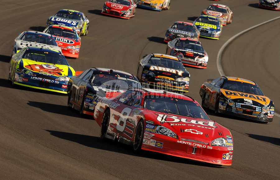Sept. 3, 2006; Fontana, CA, USA; Nascar Nextel Cup driver Dale Earnhardt Jr (8) leads the field during the Sony HD 500 at California Speedway. Mandatory Credit: Mark J. Rebilas.