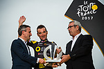 Special presentation to Thomas Voeckler (FRA) Direct Energie riding his last Tour on the final podium at the end of Stage 21 of the 104th edition of the Tour de France 2017, an individual time trial running 1.3km from Montgeron to Paris Champs-Elysees, France. 23rd July 2017.<br /> Picture: ASO/Pauline Ballet | Cyclefile<br /> <br /> <br /> All photos usage must carry mandatory copyright credit (&copy; Cyclefile | ASO/Pauline Ballet)