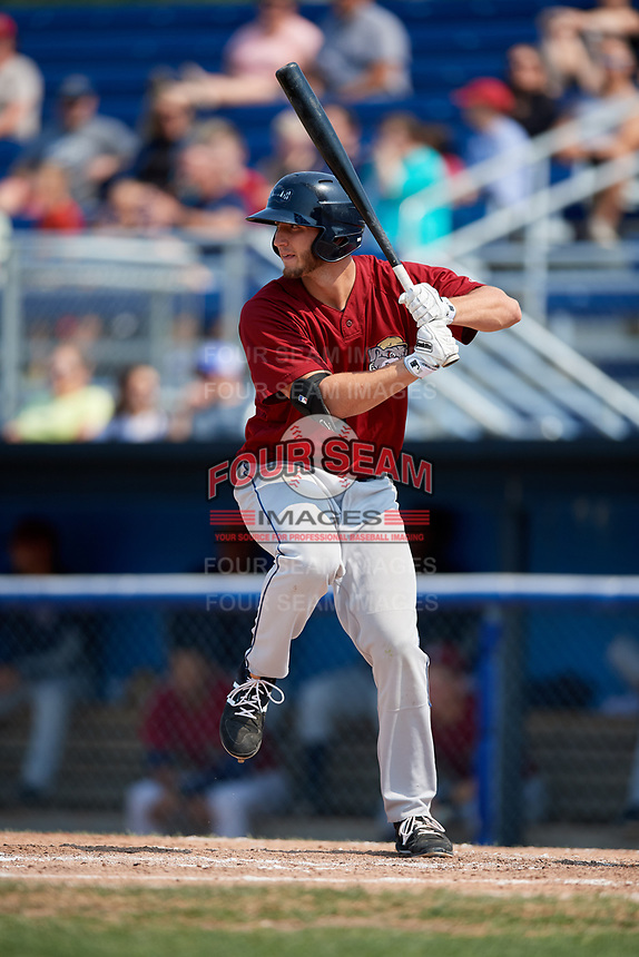 Mahoning Valley Scrappers designated hitter Simeon Lucas (28) at bat during the first game of a doubleheader against the Batavia Muckdogs on September 4, 2017 at Dwyer Stadium in Batavia, New York.  Mahoning Valley defeated Batavia 4-3.  (Mike Janes/Four Seam Images)