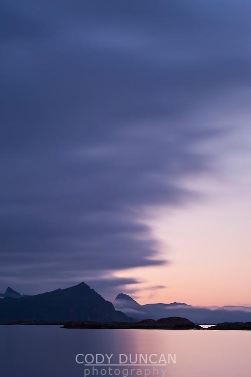 Summer twilight over waters of Vestfjord, Stamsund, Vestvagoy, Lofoten islands, Norway
