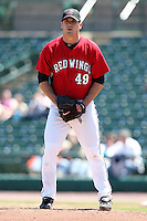 Rochester Red Wings Pitcher Jeff Manship delivers a pitch during a game vs. the Louisville Bats Sunday, May 16, 2010 at Frontier Field in Rochester, New York.   Rochester defeated Louisville by the score of 4-3.  Photo By Mike Janes/Four Seam Images