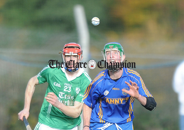 Killanena's Enda Collins eyes posession. Photograph by Declan Monaghan