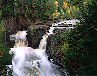 WI29A218 Copper Falls in autumn, Copper Falls State Park, WI. Copper Falls State Park, Wisconsin.