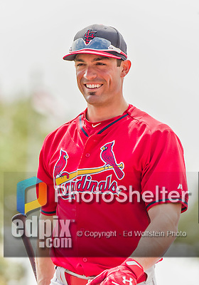 7 March 2015: St. Louis Cardinals outfielder Randal Grichuk awaits his turn in the batting cage prior to a Spring Training game against the Washington Nationals at Space Coast Stadium in Viera, Florida. The Cardinals fell to the Nationals 6-5 in Grapefruit League play. Mandatory Credit: Ed Wolfstein Photo *** RAW (NEF) Image File Available ***
