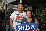 Max Cardenas III, an Obama supporter, jokes around with his mother Sandrda Chavez, a Clinton supporter, outside a Hillary for President rally at the 6th Street Bar & Grill Sunday  Feb. 17,2008.(Dave Rossman/For the Chronicle)