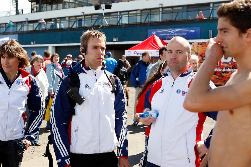 Photo: Richard Lane/Richard Lane Photography. GE Strathclyde Park Triathlon. 22/05/2011. Elite Men race. Coaches after the race.