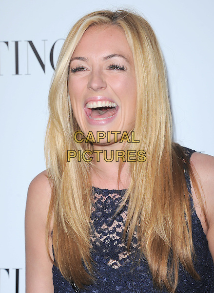 Cat Deeley.The Valentino 50th Anniversary and Unveiling of The Valentino Beverly Hills Flagship on Rodeo in Beverly Hills, California, USA..March 27th, 2012.headshot portrait mouth open laughing smiling funny blue lace sleeveless .CAP/RKE/DVS.©DVS/RockinExposures/Capital Pictures.
