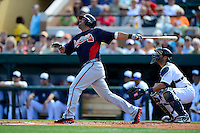 Atlanta Braves catcher Gerald Laird #11 during a Spring Training game against the Detroit Tigers at Joker Marchant Stadium on February 27, 2013 in Lakeland, Florida.  Atlanta defeated Detroit 5-3.  (Mike Janes/Four Seam Images)