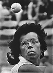 Tennis Player, Billie Jean King, eyes on the ball, while competing at Forest Hills, NY. Phoito by Jim Peppler.