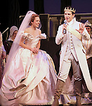 Laura Osnes & Santino Fontana with the Broadway cast of 'Rodgers + Hammerstein's Cinderella' host a wedding proposal on stage at the Broadway Theatre. Alan Chau proposes to Maria Roca. Alan is a sergent in NYC's  19th police precinct and Maria works in the Department of Environmental Protection. New York City on 1/28/2013
