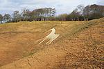 White Horse in chalk escarpment hillside, Cherhill, Wiltshire, England, UK