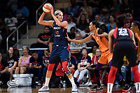 Washington, DC - July 30, 2019: Washington Mystics forward Elena Delle Donne (11) guarded by Phoenix Mercury forward DeWanna Bonner (24) during first half action of game between the Phoenix Mercury and Washington Mystics at the Entertainment & Sports Arena in Washington, DC. (Photo by Phil Peters/Media Images International)