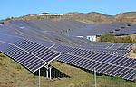 Array of solar panels on a bright sunny day, Sierra Alhamilla, near Nijar, Almeria, Spain