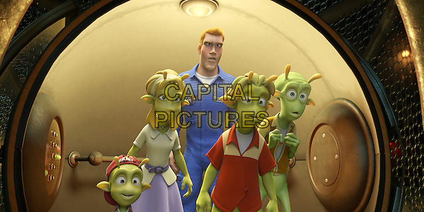 """SCENE - """"Eckle"""" voiced by Freddie Benedict, """"Neera"""" voiced by Jessica Biel, """"Chuck Baker"""" voiced by Dwayne """"The Rock"""" Johnson, """"Lem"""" voiced by Justin Long & """"Skiff"""" voiced by Seann William Scott .in Planet 51 .*Filmstill - Editorial Use Only*.CAP/FB.Supplied by Capital Pictures."""