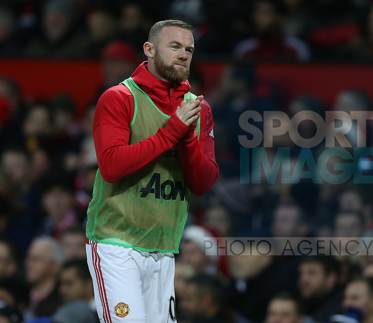 Wayne Rooney of Manchester United warms up during the English Premier League match at Old Trafford Stadium, Manchester. Picture date: December 11th, 2016. Pic Simon Bellis/Sportimage