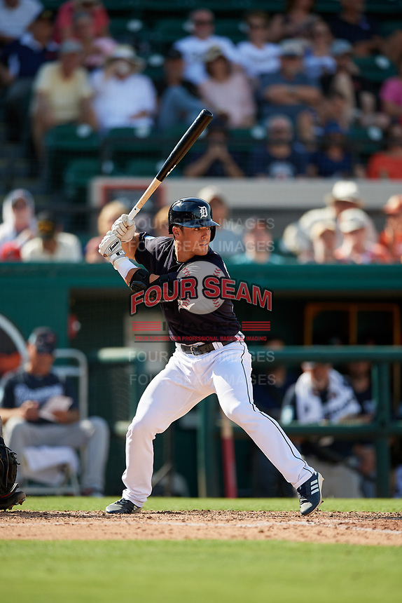 Detroit Tigers catcher Brady Policelli (78) at bat during a Grapefruit League Spring Training game against the Atlanta Braves on March 2, 2019 at Publix Field at Joker Marchant Stadium in Lakeland, Florida.  Tigers defeated the Braves 7-4.  (Mike Janes/Four Seam Images)