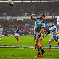 8th March 2020; Murrayfield Stadium, Edinburgh, Scotland; International Six Nations Rugby, Scotland versus France; Stuart McInally of Scotland throws the ball into the crowd after scoring a try