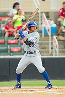 Mark Threlkeld (26) of the Lexington Legends at bat against the Kannapolis Intimidators at CMC-Northeast Stadium on July 31, 2013 in Kannapolis, North Carolina.  The Intimidators defeated the Legends 3-2.  (Brian Westerholt/Four Seam Images)