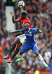 Paul Pogba of Manchester United in action with Ngolo Kante of Chelsea during the English Premier League match at Old Trafford Stadium, Manchester. Picture date: April 16th 2017. Pic credit should read: Simon Bellis/Sportimage