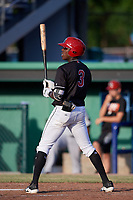 Batavia Muckdogs shortstop Demetrius Sims (3) at bat during a game against the West Virginia Black Bears on June 20, 2018 at Dwyer Stadium in Batavia, New York.  West Virginia defeated Batavia 4-3.  (Mike Janes/Four Seam Images)