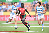 January 27th, Hamilton, New Zealand;  Kenya's Mark Ruga makes a run during the Day 2 of the HSBC World Rugby Sevens Series 2019, FMG Stadium Waikato,Hamilton, Sunday 27th January 2019.