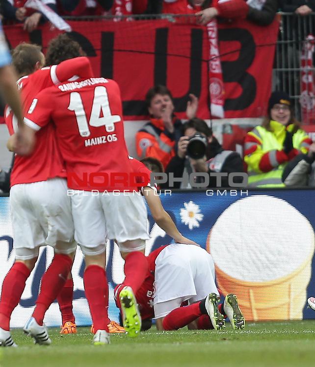 21.02.2015, Coface-Arena, Mainz, 1. Liga  2014/2015, 22. Spieltag R&uuml;ckrunde, 1. FSV Mainz 05 vs. Eintracht Frankfurt<br /> Yunus Malli (FSV Mainz 05) freut sich &uuml;ber sein Tor zum 3:1<br /> Foto &copy; nordphoto /  Bratic
