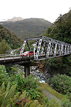 Gates of Haast, New Zealand - May 5, 2019 - Built in 1962, the single lane Gates of Haast Bridge from is on State Highway 6 that links New Zealand's Otago and West Coast regions. The bridge is so named for the Gates of Haast rapids on the Haast river that can be seen when driving across the bridge. Picture: Giordano Stolley/Allied Picture Press/APP