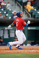 Buffalo Bisons third baseman Tim Lopes (5) follows through on a swing during a game against the Scranton/Wilkes-Barre RailRiders on May 18, 2018 at Coca-Cola Field in Buffalo, New York.  Buffalo defeated Scranton/Wilkes-Barre 5-1.  (Mike Janes/Four Seam Images)