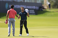 Rafa Cabrera Bello (ESP) and Haydn Porteous (RSA) on the 18th green during the 3rd round of  the Saudi International powered by Softbank Investment Advisers, Royal Greens G&CC, King Abdullah Economic City,  Saudi Arabia. 01/02/2020<br /> Picture: Golffile | Fran Caffrey<br /> <br /> <br /> All photo usage must carry mandatory copyright credit (© Golffile | Fran Caffrey)