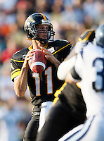 Jul 7, 2007; Hamilton, ON, CAN; Hamilton Tiger-Cats quarterback (11) Jason Maas drops back to pass during the 2007 season home opener against the Toronto Argonauts at Ivor Wynne Stadium. The Argos defeated the Tiger-Cats 30-5. Mandatory Credit: Ron Scheffler, Special to the Spectator.