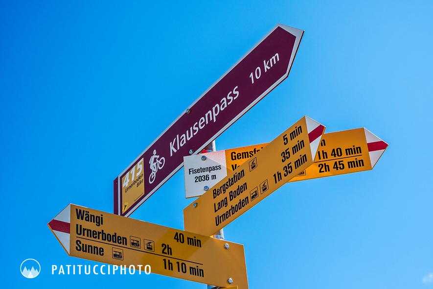 A Swiss trail sign on the Klausen Pass, Switzerland
