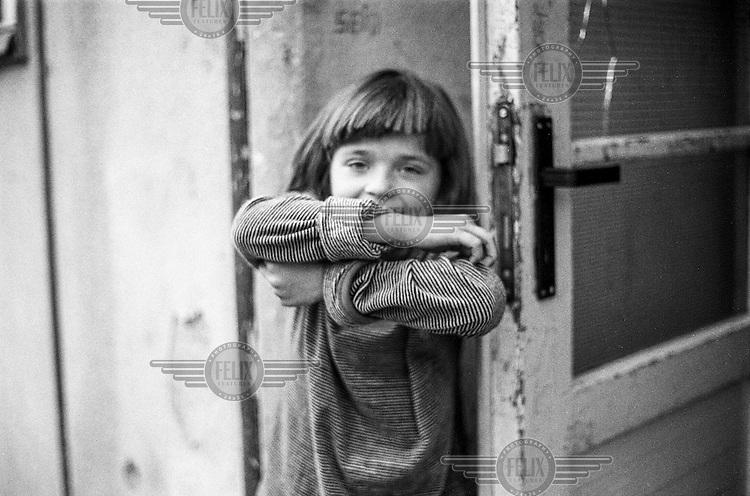 A refugee child from Bosnia in the Varazdin refugee camp in Croatia.