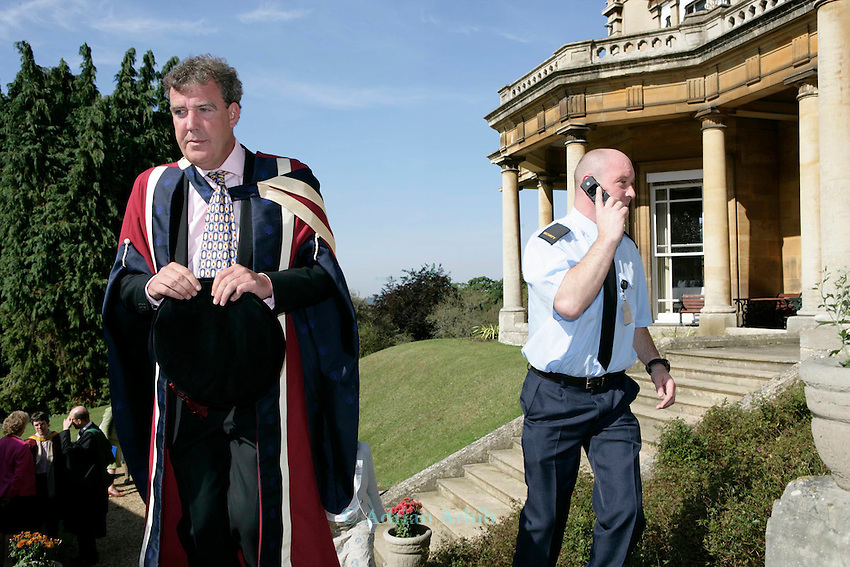 Jeremy Clarskon on the steps of Headington Hill Hall on rthe day of  his acceptance of his Honorary degree. Moments later he was pied a protester who was against the  giving of his  honorary degree