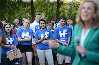 Democratic U.S. Senate candidate Katie McGinty speaks with supporters at the opening of the Hillary Clinton campaign office Tuesday August 23, 2016 in Lansdale, Pennsylvania. (Photo by William Thomas Cain)