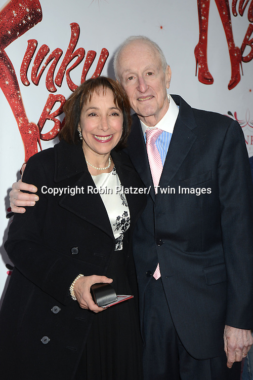 "Didi Conn and David Shire arrive at the ""Kinky Boots"" Broadway Opening on April 4, 2013 at The Al Hirschfeld Theatre in New York City. Harvey Fierstein wrote is the Book Writer and Cnydi Lauper is the Composer."