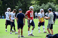 Wednesday, August 17, 2016: New England Patriots quarterback Tom Brady (12) gets a break at a joint training camp session between the Chicago Bears and the New England Patriots held at Gillette Stadium in Foxborough Massachusetts. Eric Canha/CSM