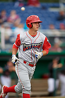 Williamsport Crosscutters third baseman Seth Lancaster (26) jogs to first base after drawing a walk during a game against the Batavia Muckdogs on June 22, 2018 at Dwyer Stadium in Batavia, New York.  Williamsport defeated Batavia 9-7.  (Mike Janes/Four Seam Images)