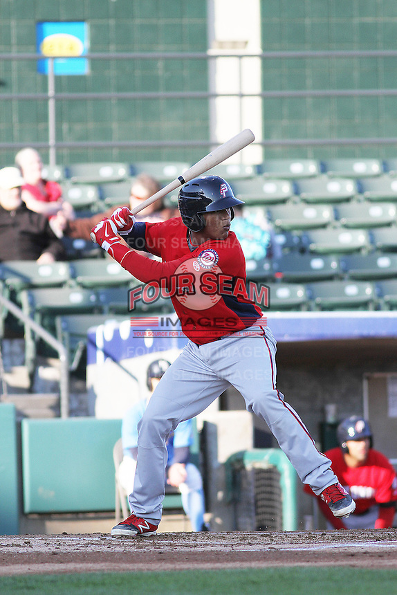 Potomac Nationals catcher Pedro Severino #4 at bat during a game against the Myrtle Beach Pelicans at Ticketreturn.com Field at Pelicans Ballpark on April 16, 2014 in Myrtle Beach, South Carolina. Potomac defeated Myrtle Beach 7-3. (Robert Gurganus/Four Seam Images)