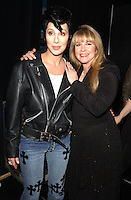"Cher, with Elvis Presley wig and Stevie Nicks backstage at the ""VH1 Divas Las Vegas"", a concert to benefit the VH1 Save the Music Foundation, at the MGM Grand Garden Arena in Las Vegas, 5/23/02. Photo by Frank Micelotta/ImageDirect"