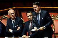 Federico D'Inca', Luidi Di Maio and Giuseppe Conte<br /> Rome September 10th 2019. Senate. Discussion and Trust vote at the new Government. <br /> Foto  Samantha Zucchi Insidefoto