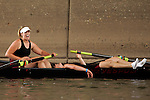 Rowers from Carnegie Mellon react after crossing the finish line in the Women's Varsity Lightweight Four Final during the 68th Dad Vail Regatta on the Schuylkill River in Philadelphia, Pennsylvania on May 13, 2006...............................