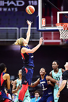 Washington, DC - June 15, 2018: Washington Mystics guard Elena Delle Donne (11) goes up for a rebound during game between the Washington Mystics and New York Liberty at the Capital One Arena in Washington, DC. (Photo by Phil Peters/Media Images International)
